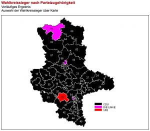 Wahlkreissieger nach Parteizugehörigkeit in Sachsen-Anhalt bei der Landtagswahl im März 2011