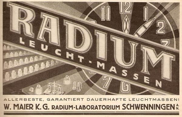 Werbung für Radium-Leuchtmasse